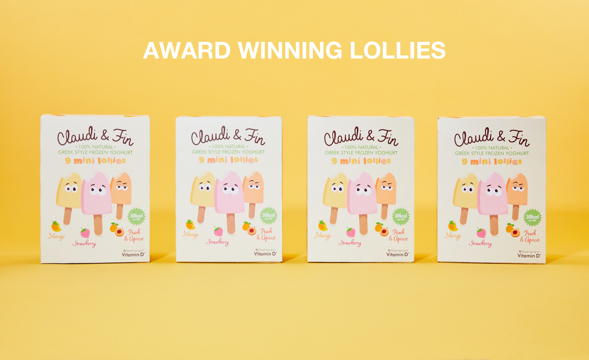 Four boxes of Claudi and Fin lollies lined up against a yellow background