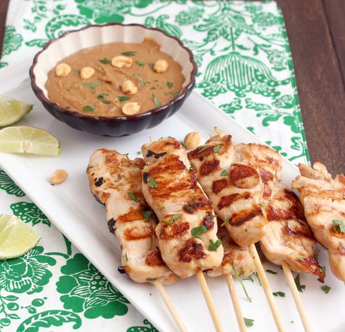 Chicken satay skewers