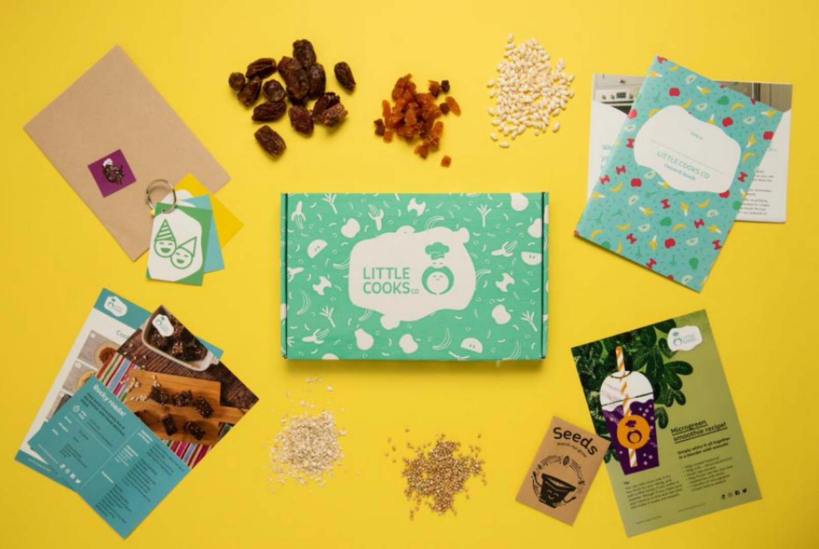 Little Cooks Co box contents on yellow background