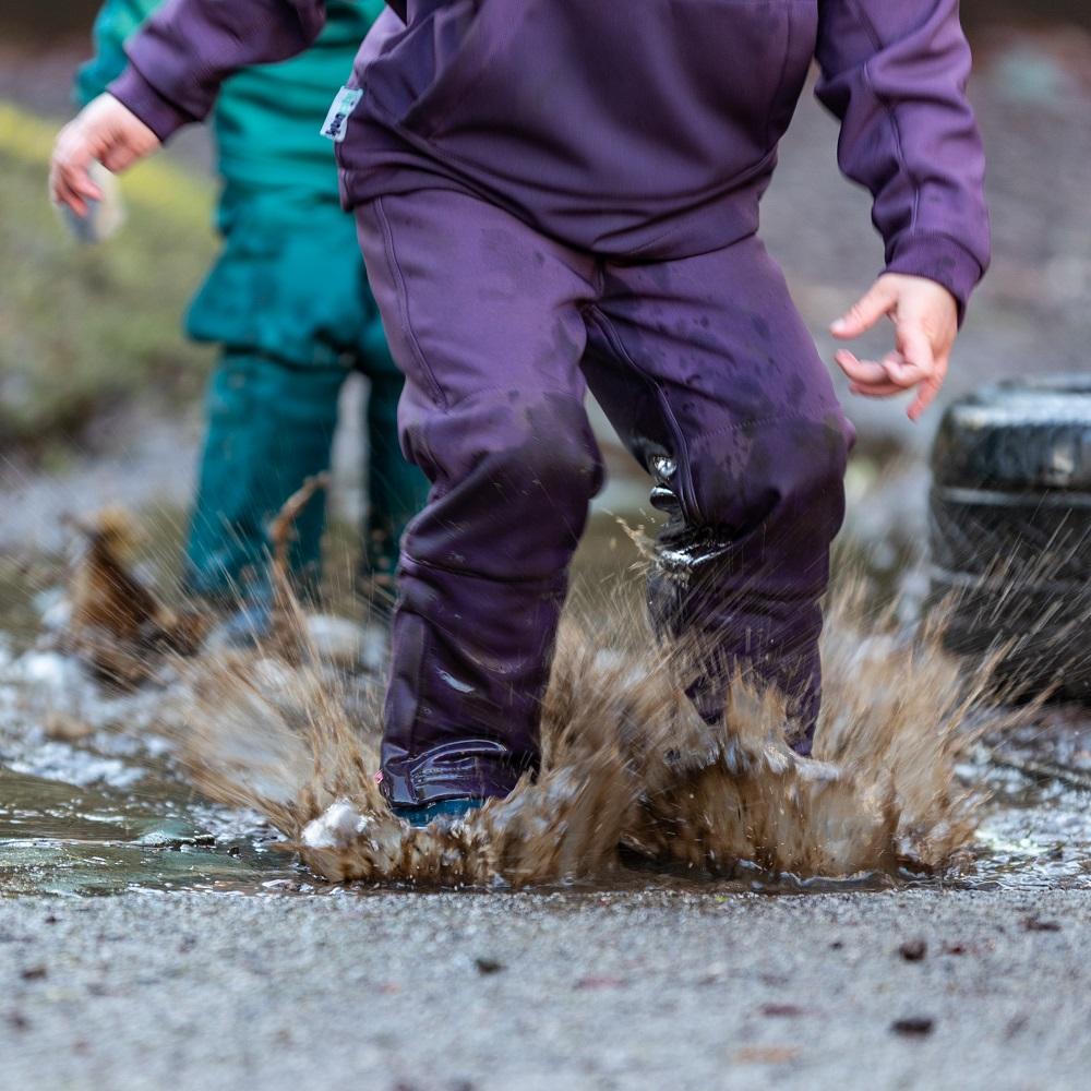 Children splashing in puddles